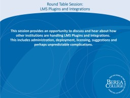 Round Table Session: