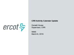 CRR Activity Calendar Update