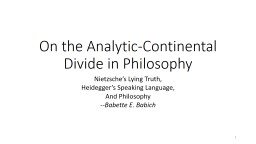 On the Analytic-Continental Divide in Philosophy