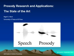Prosody Research and Applications: