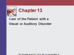 Chapter 13 Care of the Patient with a