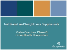 Nutritional and Weight Loss Supplements