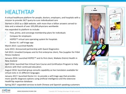 A  virtual healthcare platform for people, doctors, employers, and hospitals with a mission to prov