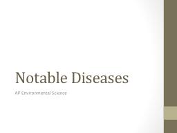 Notable Diseases AP Environmental Science