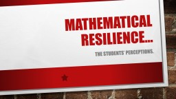 Mathematical resilience…