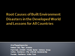 Root Causes of Built Environment Disasters in the Developed World and Lessons for All Countries