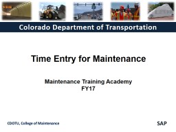 Time  Entry for  Maintenance