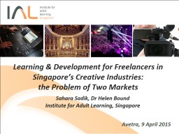 Avetra, 9 April 2015 Learning & Development for Freelancers in Singapore's Creative Industrie