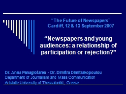 """"""" Newspapers and young audiences: a relationship of participation or rejection?"""""""