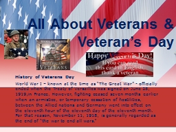 All About Veterans & Veteran's Day