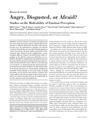 Research Article Angry Disgusted or Afraid Studies on