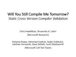 Will You Still Compile Me Tomorrow