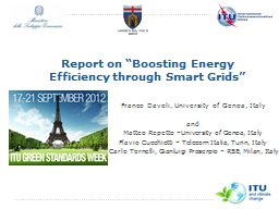 """Report  on """"Boosting Energy Efficiency through Smart Grids"""""""