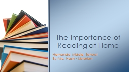 Hernando Middle School By Mrs. Hash - Librarian