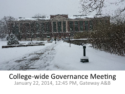 College-wide Governance Meeting