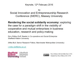 Keynote    to:  Social Innovation and Entrepreneurship Research Conference (SIERC), Massey Universi