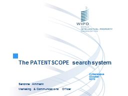 The PATENTSCOPE search system