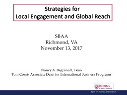 Strategies for  Local Engagement and Global Reach