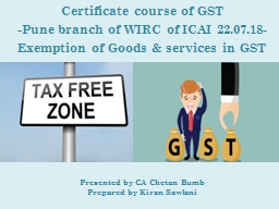 Certificate course of GST
