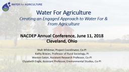 Water For Agriculture   Creating an Engaged Approach to Water For & From Agriculture