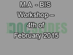 M.A  - BIS Workshop – 4th of February 2015