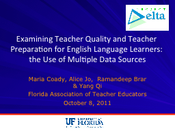 Examining Teacher Quality and Teacher Preparation for English Language Learners: the Use of Multi