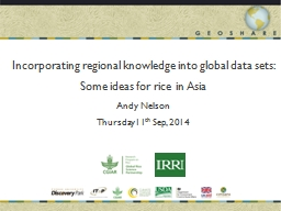 Incorporating regional knowledge into global data sets: Some ideas for rice