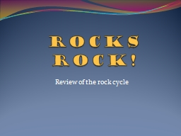 Rocks Rock!  Review of  the rock cycle