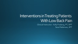 Interventions in Treating Patients