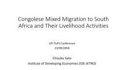 Congolese Mixed Migration to South Africa and Their Livelihood Activities