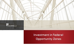 Investment in Federal  Opportunity Zones