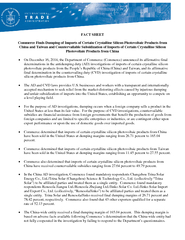 FACT SHEET Commerce Finds Dumping of Imports of Certai PowerPoint PPT Presentation