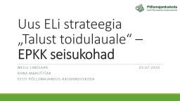 """Uus ELi strateegia """"Talust toidulauale"""" –"""