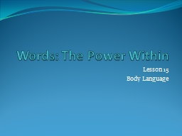 Words: The Power Within Lesson 15