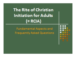 The Rite of Christian  Initiation for