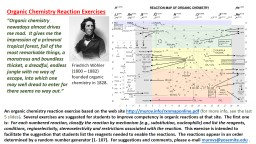 An organic chemistry reaction exercise based on the web site
