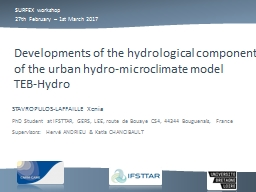 Developments  of the hydrological component of the urban