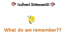 Indirect Statement!!!  What do we remember??