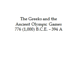 The Greeks and the Ancient Olympic Games