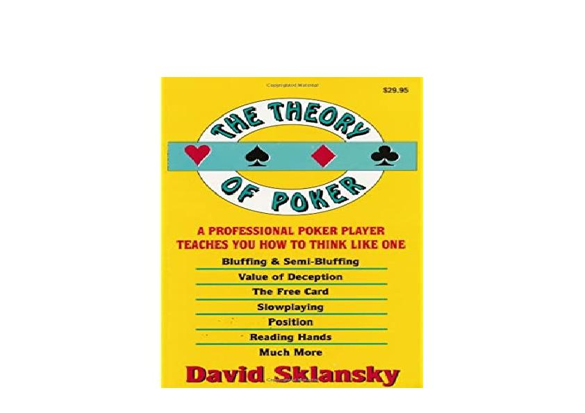 EPUB FREE  The Theory of Poker A Professional Poker Player Teaches You How to Think Like One