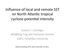 Influence of local and remote SST on North Atlantic tropical cyclone potential intensity