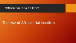 Nationalism in South Africa
