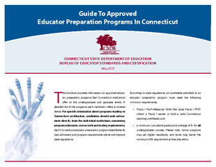 Guide To Approved Educator Preparation Programs In Con