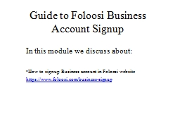 Guide to  Foloosi  Business Account Signup