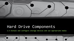 Hard Drive Components 1.5 Install and configure storage devices and use appropriate