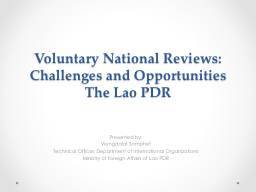 Voluntary National Reviews: Challenges and Opportunities