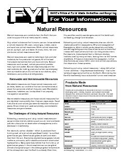 heat, light and power. Natural resources also are the