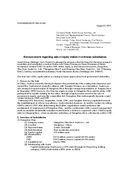 FOR IMMEDIATE RELEASE August 2, 2011 Company Name: Asahi Group Holding