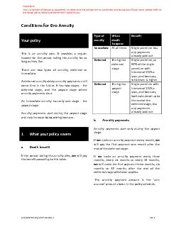 Conditions for Gro Annuity     LHO/Gro