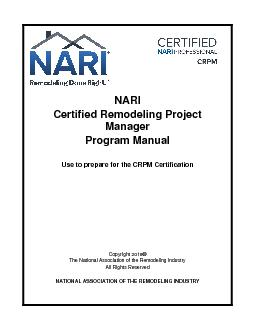 NARICertified Remodeling Project ManagerProgram ManualUse to prepare f